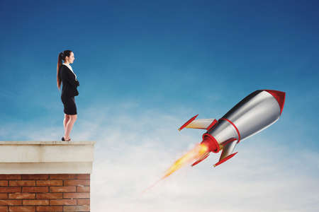 Fast rocket ready to fly fast. Startup of a new company concept Stock Photo