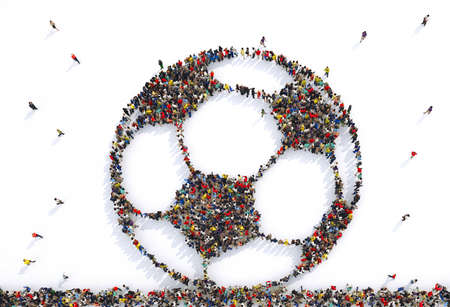 Many people together in a soccer ball shape. 3D Rendering