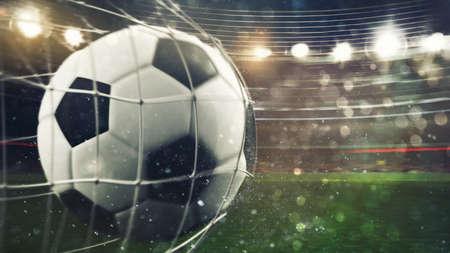 Soccer ball scores a goal on the net. 3D Rendering Stock Photo - 102932835