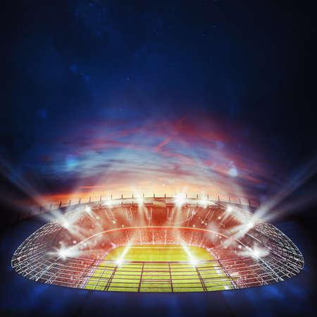 Widok z góry na stadion piłkarski w nocy z włączonymi światłami. Renderowanie 3D