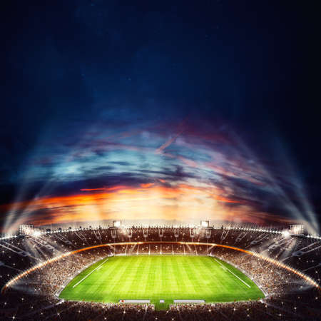 Bovenaanzicht van een voetbalstadion 's nachts met de lichten aan. 3D-weergave Stockfoto