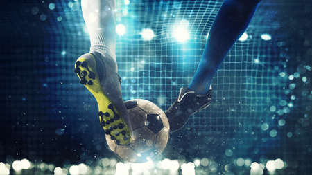 Close up of a soccer striker ready to kicks the ball in the football goal Banco de Imagens - 103275261