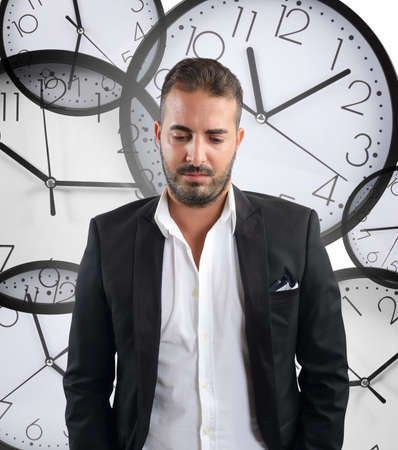 Laggard businessman with deadlines Stock Photo