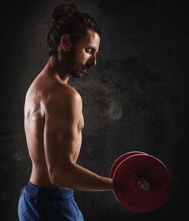Man training biceps