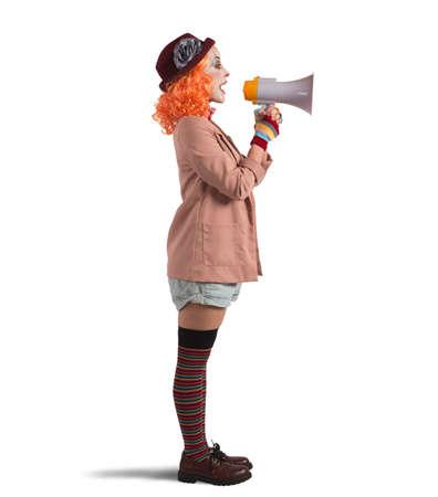 clown using a hailer to speak