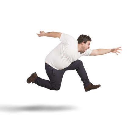 Fat man runs
