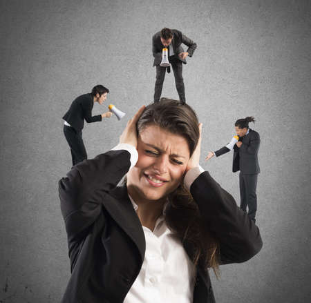 Businesswoman annoyed by screams