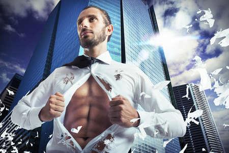 Superhero businessman Archivio Fotografico
