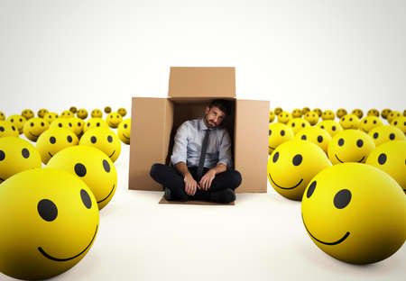 Alone desperate businessman in the middle of happy smileys . 3D Rendering Stock Photo