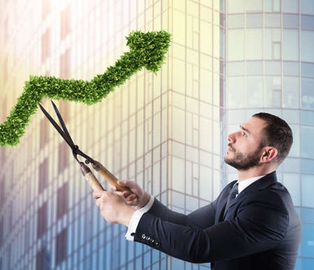 Businessman that cuts and adjusts a plant shaped like an arrow stats. Concept of startup company . 3D Rendering Stock Photo
