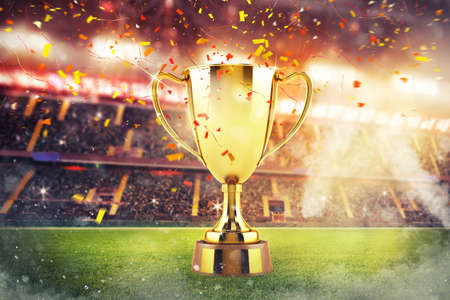 Concept van triomf in een voetbalfinale Stockfoto