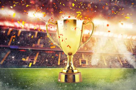Konzept des Triumphs in einem Fußball-Endspiel Standard-Bild