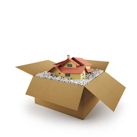 House in a cardboard box. Concept of buying a dwelling. 3D Rendering Stock Photo