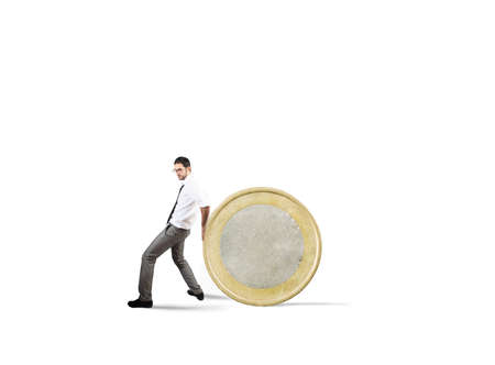 Businessman moves a coin. concept of difficulty to saving money