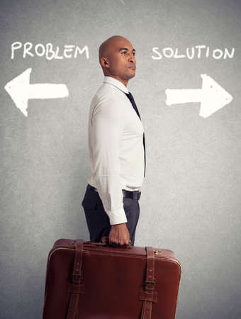 Businessman must choose between different destinations. concept of difficult career Stock Photo