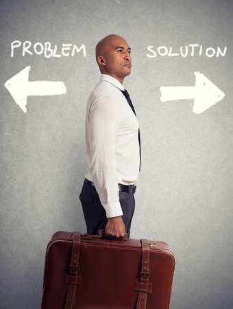 Businessman must choose between different destinations. concept of difficult career Reklamní fotografie
