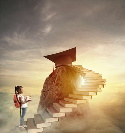 Aspire to prestigious roles by climbing a ladder of books 스톡 콘텐츠