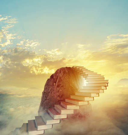 Aspire to prestigious roles by climbing a ladder of books Stockfoto