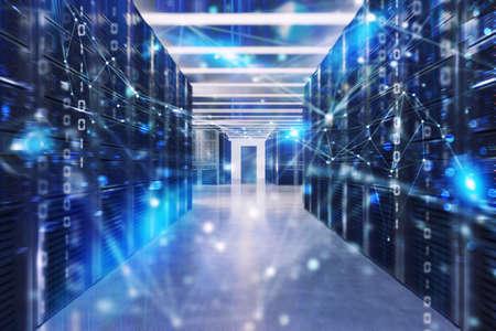 Ferme de serveurs avec effets et codes de connexion réseau