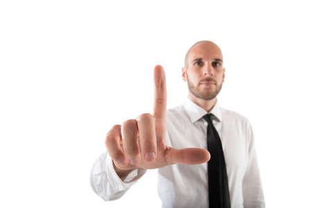 Businessman works with futuristic internet interface