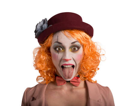 Funny Grimace clown girl girl with tongue outside