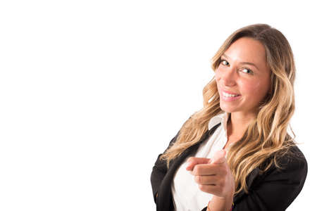 Businesswoman that indicates on the camera. Concept of people recruitment Banco de Imagens - 108118057