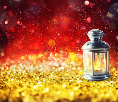 Shiny lantern on a Christmas sparkle background Standard-Bild - 108234947
