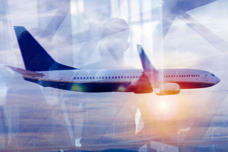 Modern airport with blur effects. double exposure Stock Photo