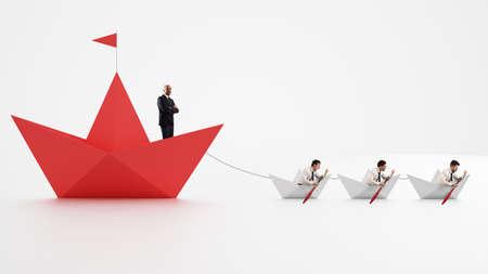 L'unité est la force. Les travailleurs qui font avancer l'entreprise. Concept de travail d'équipe et d'alliance. Rendu 3D