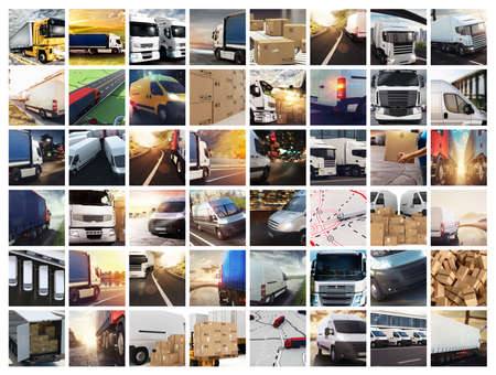 Collage composition with vans and trucks. Concept of transport and logistic Stock Photo