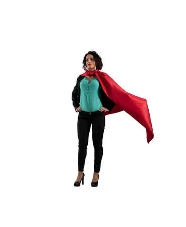 Successful businesswoman acts like a super hero.