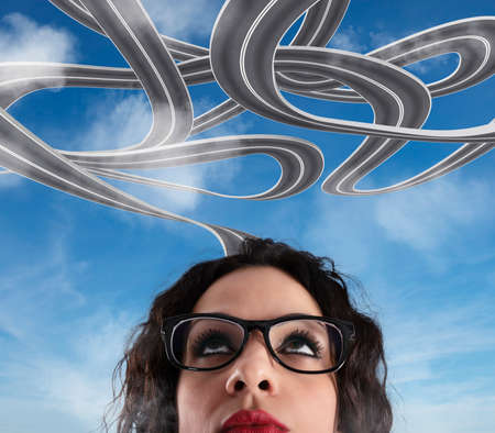 Confusion of way for a businesswoman. Concept of difficult career Stock fotó