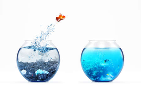 Concepto de mejora y movimiento con un pez dorado saltando de un acuario sucio a uno limpio