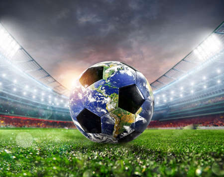 Soccer ball a as world. Earth provided by NASA. Stock fotó