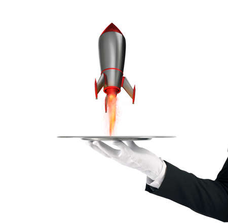 Waiter that holds a tray with a rocket ready to start. Concept of startup