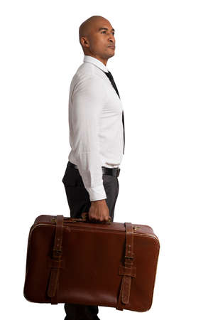 Businessman must choose between different destinations. concept of difficult career 스톡 콘텐츠