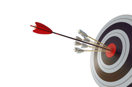 La flecha golpeó el centro del objetivo. Concepto de logro de objetivos empresariales. Foto de archivo