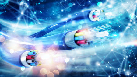 Internet connection with optical fiber. Concept of fast internet Stok Fotoğraf - 118882017