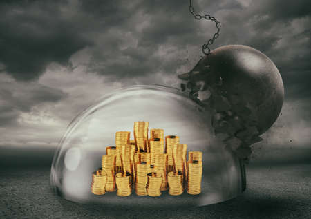Coins safely inside a shield dome during a storm that protects them from a wrecking ball. Protection and safety concept Stock Photo