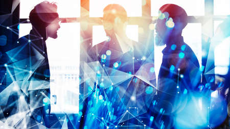 Business people collaborate together in office. Double exposure effects Banque d'images