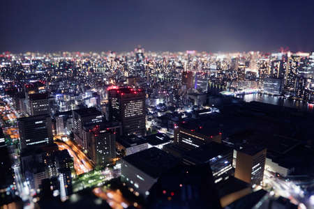 Night skyline of Tokyo city from a skyscraper.