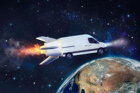 Livraison super rapide du service de colis avec une camionnette volante comme une fusée.