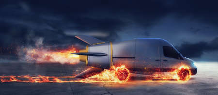 Entrega súper rápida de servicio de paquetes con camioneta como un cohete con ruedas en llamas