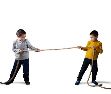 Rivalry of two brothers with a rope. Isolated on white background
