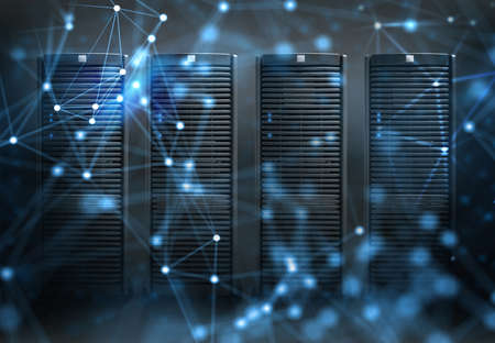 Concept of a data center room with database server and network effects