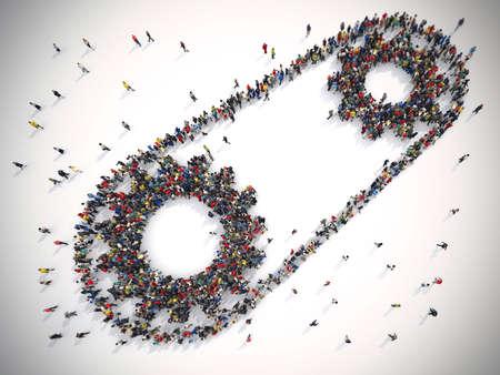 Rendering 3D di persone unite formano due ingranaggi. Concetto di sistema di lavoro di squadra Archivio Fotografico