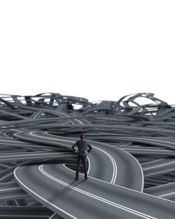 Keuzes van een zakenman en een moeilijk carrièreconcept