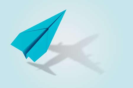 Concepto de ambición y destino con avión de papel. Representación 3d