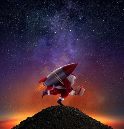 Livraison rapide de cadeaux de Noël prêts à voler avec une fusée