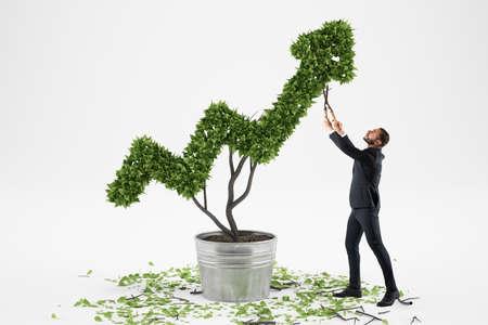 Businessman cares for a big plant shaped as an arrow Imagens
